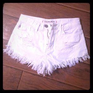 Sneak Peak white frayed Jean shorts Nasty Gal
